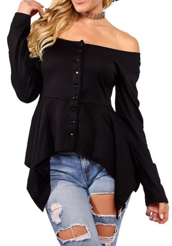 Black Single Breasted Irregular Boat Neck Long Sleeve Fashion T-Shirt