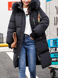 Black Patchwork Fur Pockets Buttons Zipper Hooded Long Sleeve Casual Coat