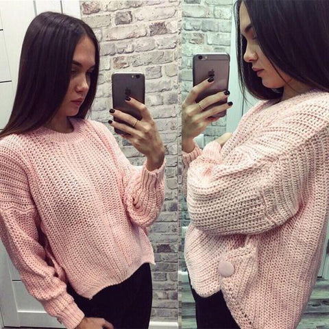 Pink Studded Irregular Round Neck Long Sleeve Casual Pullover Sweater