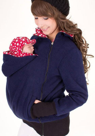 Navy Blue Multi-functional Zipper Kangaroo Baby Bags Hooded Cardigan Sweatshirt