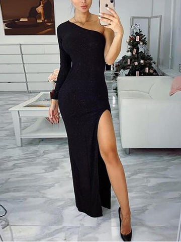 Black One Shoulder Slit Long Sleeve Cocktail Party Maxi Dress