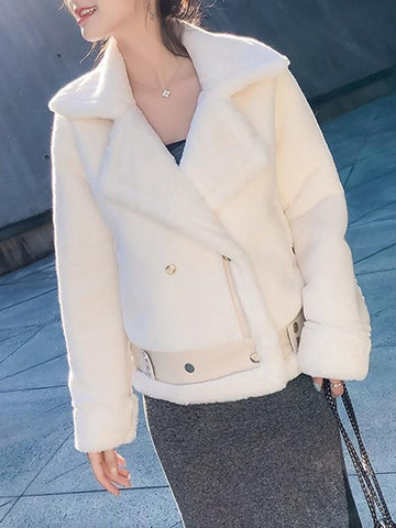 New White Fur Pockets Buttons Belt Turndown Collar Long Sleeve Casual Coat