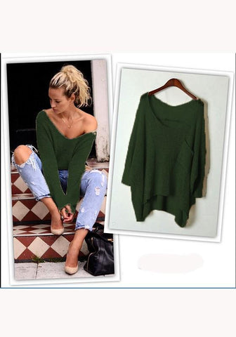 Green Plain Pockets V-neck Fashion Pullover Sweater