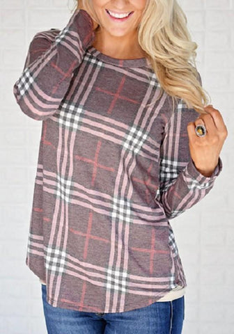 Light Brown Plaid Irregular High-low Long Sleeve Casual Blouse