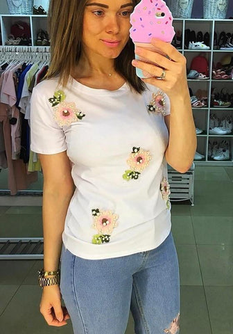 White Flowers Embroidery Beading Round Neck Short Sleeve T-Shirt