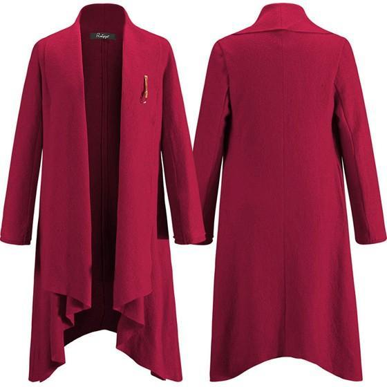Red Pockets Draped Irregular High-low Long Sleeve Turndown Collar Elegant Cardigan Wool Coat
