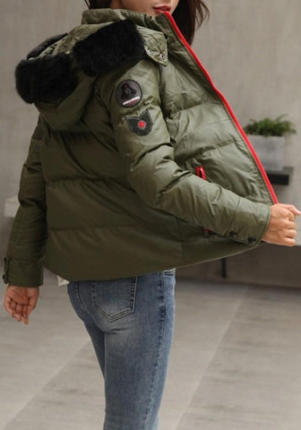 Army Green Pockets Fur Zipper Hooded Long Sleeve Fashion Coat