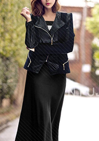 Black Patchwork Zipper PU Leather Plus Size Long Sleeve Jacket