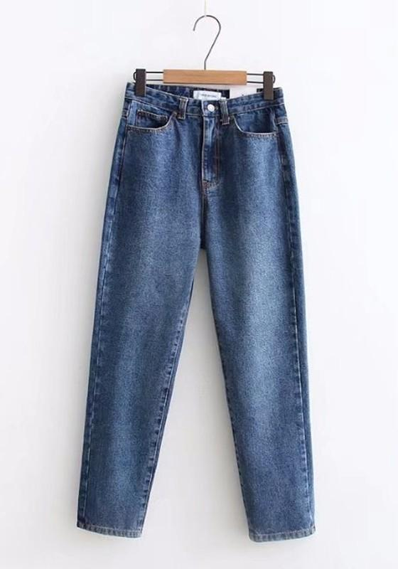 Dark Blue Pockets Buttons High Waisted Mom Star Stalker Nine's Jeans