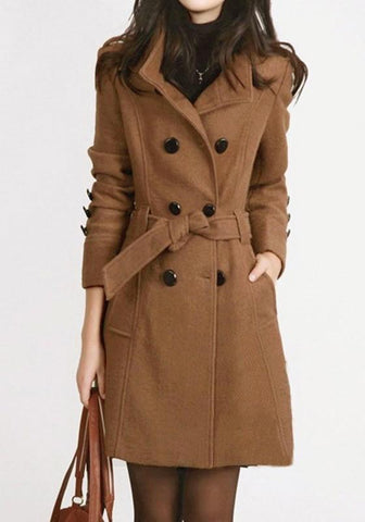 Khaki Sashes Pockets Buttons Turndown Collar Long Sleeve Coat