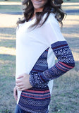 Multicolor Patchwork Geometric Print Round Neck Long Sleeve Casual T-Shirt