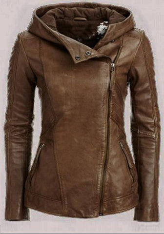 Brown Pockets Hooded V-neck Long Sleeve Cardigan Coat