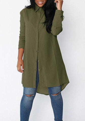 Army Green Irregular Single Breasted Turndown Collar Long Sleeve Blouse