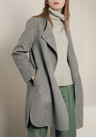 Grey Pockets Buttons Band Collar Long Sleeve Wool Coat