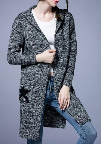 Grey Print Pockets Hooded V-neck Long Sleeve Cardigan Sweater