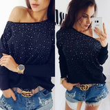 New Black Mosaic Rhinestone Long Sleeve Sweet Going out T-Shirt