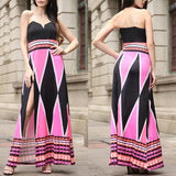 Red Striped Condole Belt Side Silt Maxi Dress
