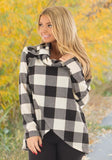 White Plaid Buttons Irregular Checkered Cowl Neck Casual Blouse