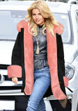 Black Patchwork Drawstring Pink Fur Hooded Long Sleeve Fashion Parka Coat