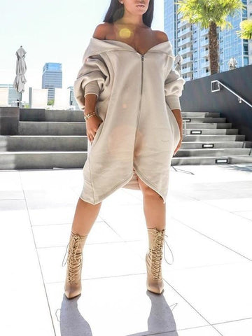 Grey Off Shoulder Zipper High-Low Irregular Hooded Long Sleeve Casual Midi Dress