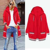 Red Striped Hooded Going out Fashion Cardigan Coat
