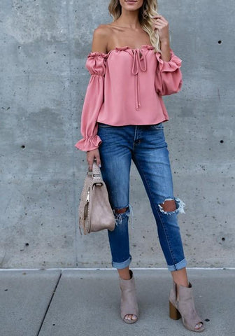 Pink Backless Drawstring Ruffle Off Shoulder Ruched Balloon Sleeve Going out Sweet Blouse