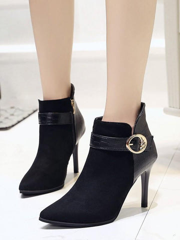 New Black Point Toe Stiletto Fashion Ankle Boots