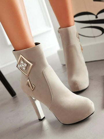 New Beige Round Toe Chunky Rhinestone Fashion Ankle Boots