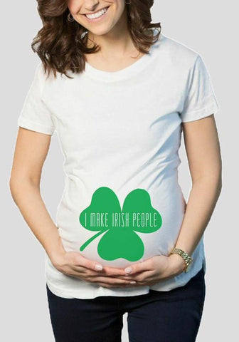 White Shamrock Print Plus Size Maternity St. Patrick's Day Casual T-Shirt