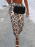 Leopard Print Drawstring Pockets High Waisted Casual Long Pant
