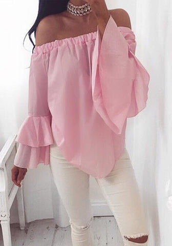 Pink Irregular Ruffle Boat Neck Long Sleeve Blouse