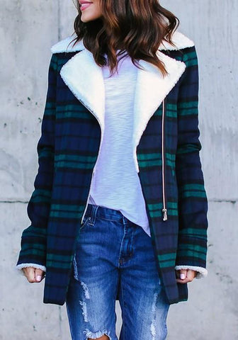 Blue Plaid Turndown Collar Zipper Long Sleeve Casual Winter Warm Coat