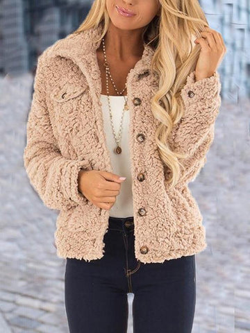 New Apricot Fur Pockets Buttons Single Breasted Turndown Collar Long Sleeve Casual Coat