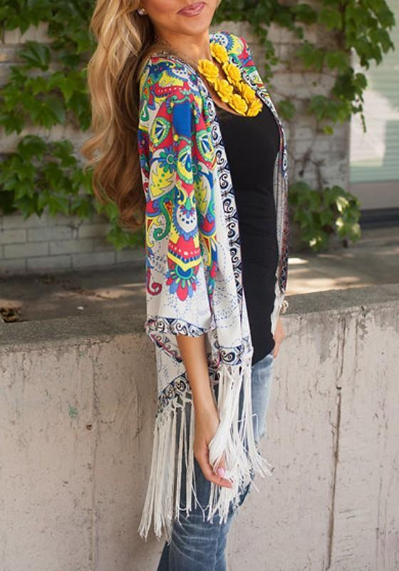 Multicolor Floral Print Tassel Irregular Fashion Coat