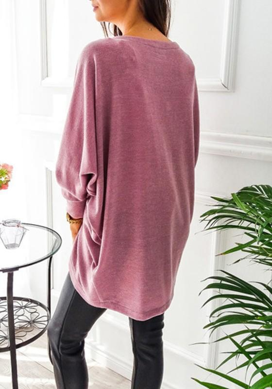 Red Bean Paste Irregular Long Sleeve Casual Cotton Batwing Coat