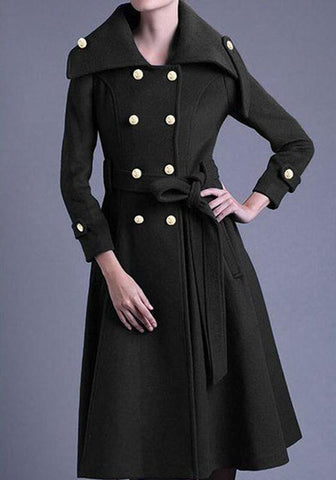 Black Patchwork Sashes Double Breasted Turndown Collar Long Sleeve Fashion Coat