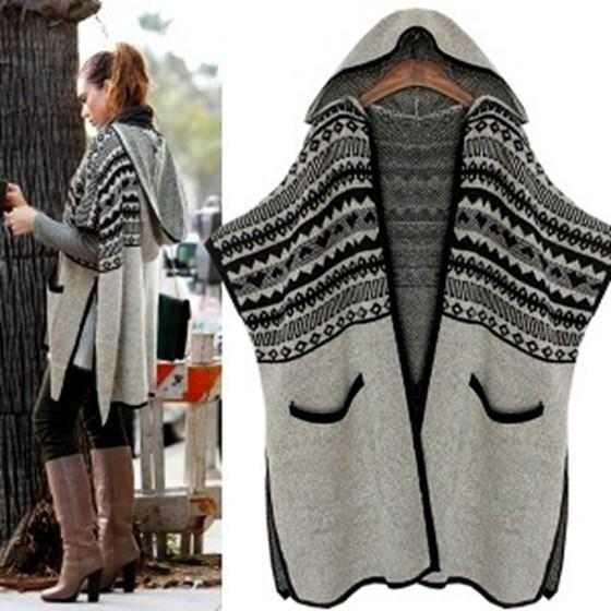 Grey Patchwork Pockets Cut Out Hooded Casual Cardigan Batwing Sweater