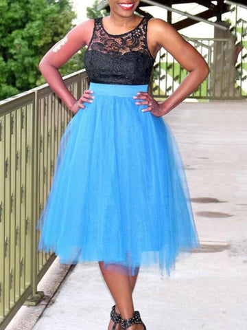 New Lake Blue Grenadine Pleated High Waisted Tulle Tutu Homecoming Party Cute Elegant Skirt