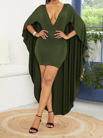 Army Green Pleated Deep V-neck With Cloak Bodycon Elegant Party Maxi Dress