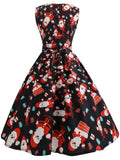 Black Red Floral Belt Sleeveless Party Midi Dress