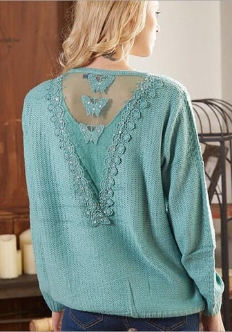 Light Blue Plain Pockets Lace Fashion Pullover Sweater