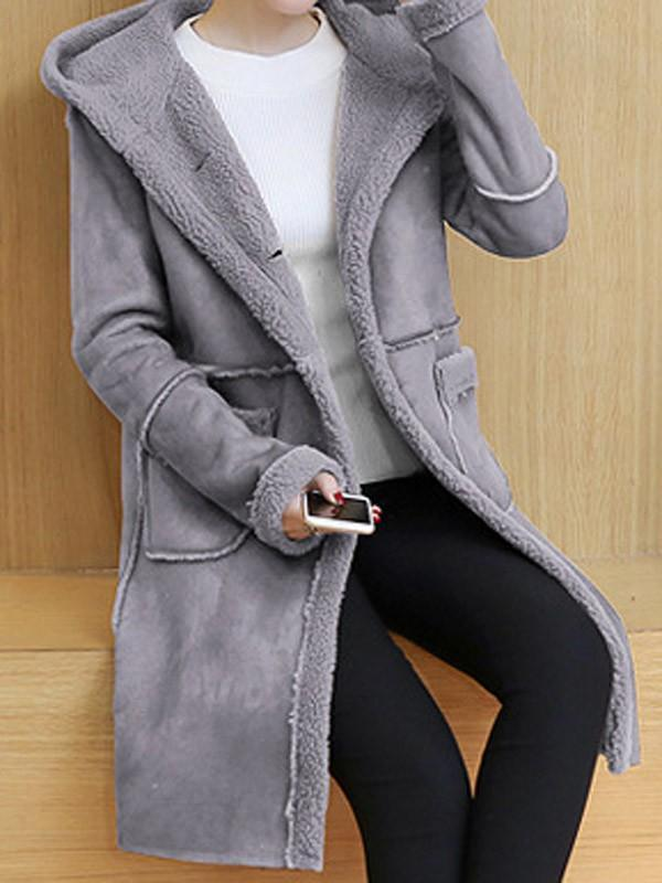 Grey Pockets Single Breasted Hooded Long Sleeve Casual Coat
