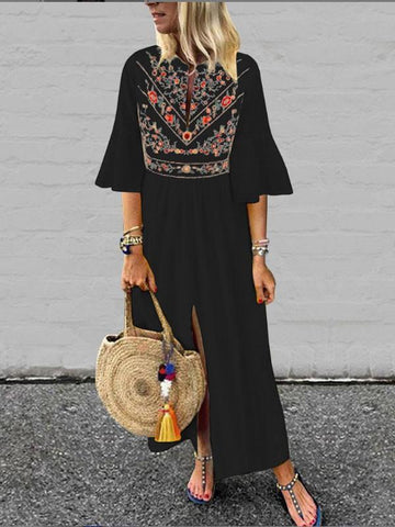 New Black Embroidery Pleated Front Slit Bell Sleeve Mexico Bohemian Beachwear Maxi Dress
