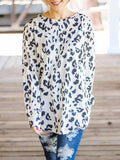 New White Leopard Print Round Neck Long Sleeve Casual T-Shirt