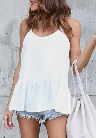 White Draped Shoulder-Strap Peplum Going out Casual Blouse