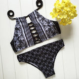 Black Floral 2-in-1 Hollow-out Condole Belt Tie Back Swimwear