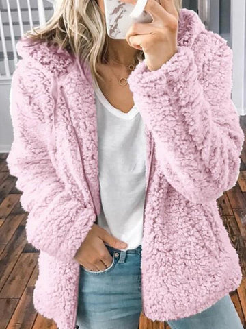 New Pink Pockets Zipper Teddy Fuzzy Long Sleeve Hooded Casual Outerwear