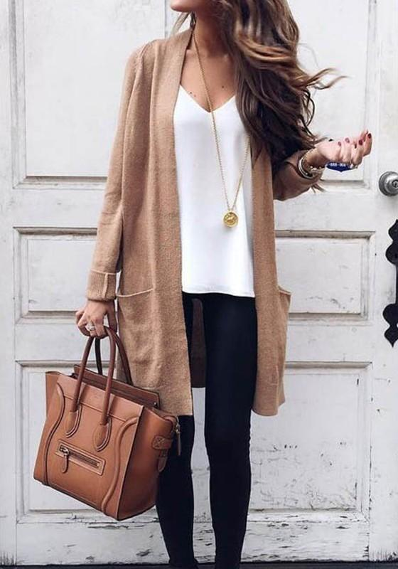 Khaki Pockets Long Sleeve Fashion Dacron Coat