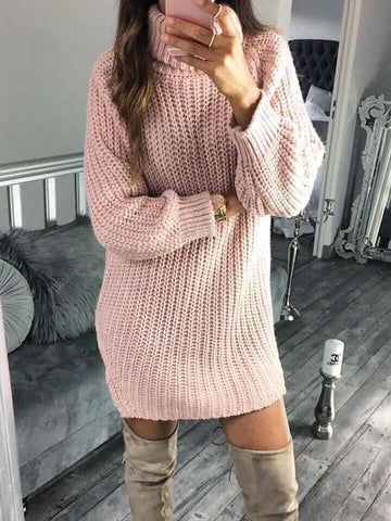 Pink Plain High Neck Long Sleeve Going out Mini Dress