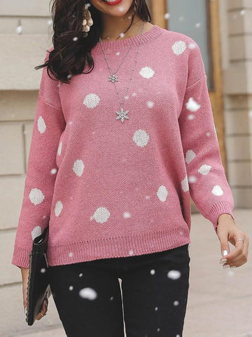 New Pink Polka Dot Round Neck Long Sleeve Oversize Pullover Sweater
